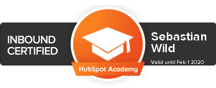 Sebastian Wild First Five Eight Inbound Certification HubSpot