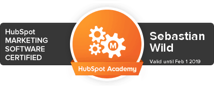 Sebastian Wild First Five Eight HubSpot Software Certification